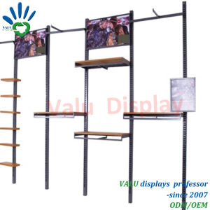 Mensola della parete della visualizzazione di disegno del materiale e di legno del metallo/cremagliere della parete visualizzazione dei vestiti/parete della visualizzazione