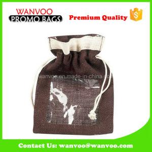 Coulisse café brun de l'Emballage Sac avec fenêtre transparente en PVC