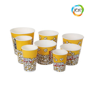 A cor do papel de embalagem dos alimentos Takeaway Recipiente balde de pipocas Caixa Cup