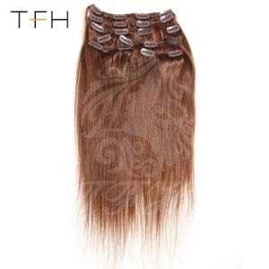 Parte superior da máquina de cabelo de Moda feita Remy Clip em extensões de cabelo humano Full Head Set castanha castanheiro (8#) Extensão de cabelo liso encaixar no cabelo 161820222426