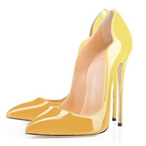 Mujer zapatos de tacón alto Ointed bombas patente Toe zapatos para damas vestido de fiesta