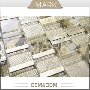 Cristal moderne en verre et métal pour la cuisine dosseret de tuiles de mosaïque