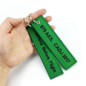 Anello chiave del metallo del regalo di promozione della catena chiave del ricamo del poliestere dell'OEM