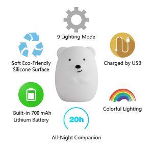 Baby-Nachtlicht der China-Fabrik kundenspezifisches Qualitäts-LED mit Silikon-Shell 100%