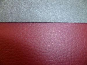 Litchi Emboss PU calçado de couro para Parte Superior