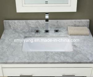 De opgepoetste Bovenkant van de Ijdelheid van Carrara Witte Marmeren voor Badkamers (yy-VT001)