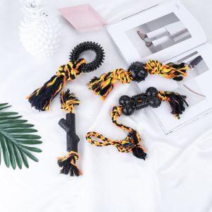 튼튼한 고급 면 밧줄 TPR 개 씹기 장난감 최신 판매