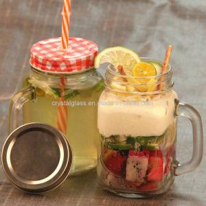飲むことのためのハンドルが付いているクリスタルグラスのメーソンジャー