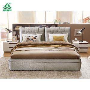 ファブリックカバーとの木製のダブル・ベッドの最新のダブル・ベッドデザインの映像