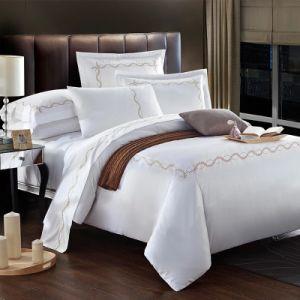 卸売は寝具の綿のセットされた白いホテルの寝具シートを刺繍した(JRD770)