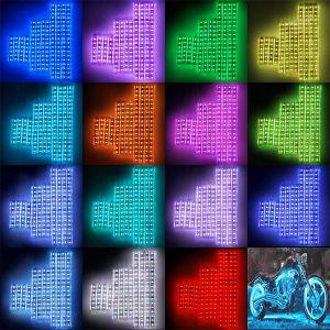 Kit de Luz de LED do motociclo sotaque Multi-Color tiras de aterramento de néon da Vela Aquecedora Atmosfera Efeito de luz das luzes