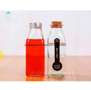 16oz/500ml de suco de mel quadrada franceses bebidas vaso de leite de vidro com tampa de plástico