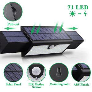2017 2PCS 2600mAh 18650電池が付いている拡張可能な3PCS太陽電池パネル71 LEDの太陽動力を与えられた屋外の壁ライト