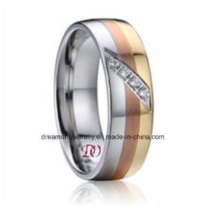 Custom Novo Anel de Ouro de moda Zircon anel de aço para homens e mulheres