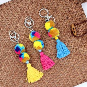 Catena chiave della nappa variopinta sveglia per la nave Pendant di goccia dell'anello chiave del Pompom del sacchetto POM POM delle donne della borsa bella dell'anello portachiavi