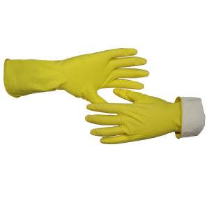 Limpieza Guantes de látex amarillo con el rebaño del manguito de rodillo de inmersión Ce 2121X