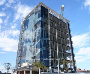 Estructura de acero de gran altura con el edificio de oficinas de muro cortina de vidrio