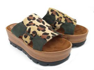 Womens Leopard les filtres en coin flip flop plat Open Toe chaussures sandales de plate-forme