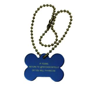 Form-Geschenk-Zoll spornte Metallblaue Decklack-Hundeplakette an (032)