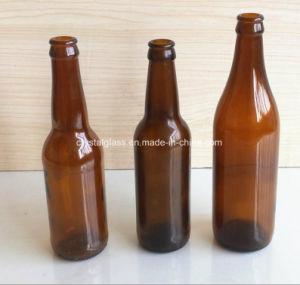 Garrafa de cerveja de vidro âmbar com tampa de encaixar