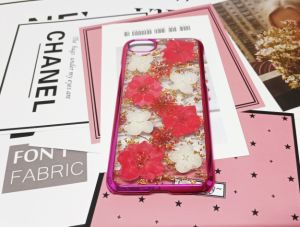 Véritable fleur Glitter Twinkle Design de mode de cas de téléphone mobile pour iPhone de vente chaude X