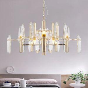 Lâmpada de bambu de ouro em estoque Crsytal decorativa Lustre em sala de estar