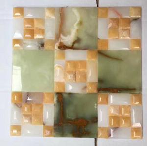 China Onyx misturados preto polido natural de pedra mármore Piscina desdobrado em vidro cristal pattern mosaic
