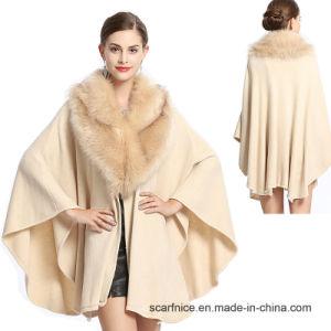 Cashmere Fox Fur Manto Xale Camada fina