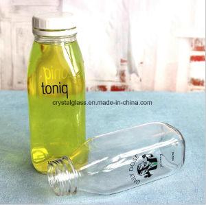 quadratische Glasflaschen 500ml mit weißer diebstahlsicherer Plastikschutzkappe