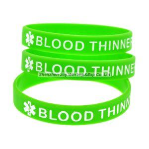 Debossed는 잉크 실리콘 팔찌 혈액 더 얇은 실리콘 소맷동을 채웠다