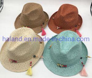 As mulheres Verão personalizado papel de moda praia Fedora Panamá chapéus de palha