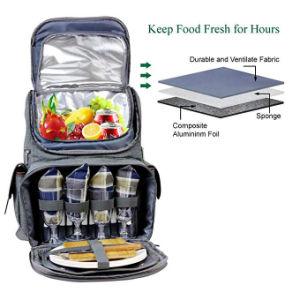 Mochila de picnic con aislamiento de la bolsa para 4, trekking y camping Back Pack con refrigerador separado Tote Win bolsa de picnic, muebles cena transportista, placas