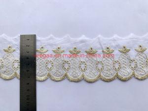 Novo vestuário Accessrory 7,5 cm de largura Lurex Ouro Rendas de algodão