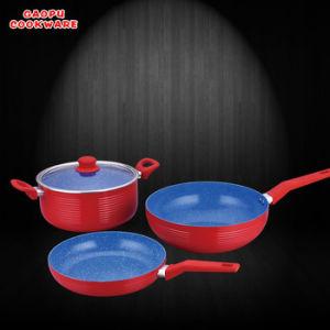 4pcs aluminium revêtement en marbre de couleur rouge Jeu de la peinture résistant à la chaleur des ustensiles de cuisine