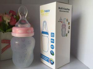 熱い販売法BPAは柔らかいスプーンが付いている180mlシリコーンの赤ん坊の挿入びんを放す