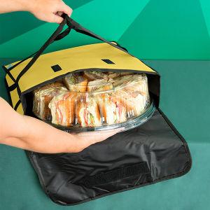 Sac à lunch en polyester jaune vif garder les aliments pour la livraison de pizza chaude Sac Homme