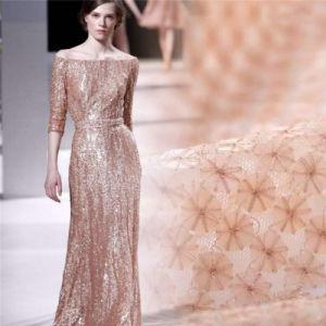 Stof van het Kant van de Stoffen van het Kant van de Partij van de Lovertjes van Champagne van de luxe de Elegante Bruids