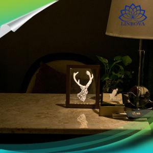 3D創造的なLEDの軽い写真フレームの暖かい白USBステレオ夜ライトが付いている木製の額縁