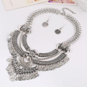 Retro collana d'argento della breve nappa della luna con l'intero insieme di Earings