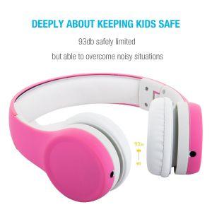 子供の男の子の女の子(ピンク)のための機能そして取り外し可能なケーブルを共有する音楽の耳のヘッドホーンにFoldable子供のヘッドホーンを限定するワイヤーで縛られたボリューム