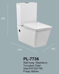 2019 Nouvelle arrivée deux pièces salle de bains sanitaire mur accroché des toilettes et des accessoires pour réservoir d'eau (PL-7736)