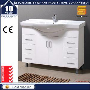 Armário de móveis de banheiro de MDF com design moderno montado no chão