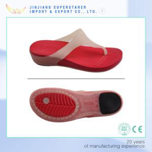 Conception de qualité de la gelée Flip Flops, EVA Flip Flops avec du PVC et talon en caoutchouc supérieure