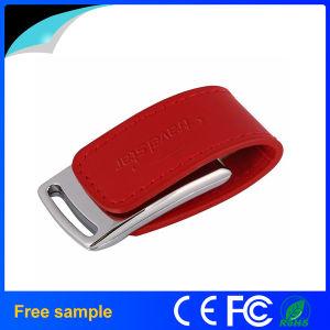 カスタム赤い革彫版のロゴUSBの棒16GB