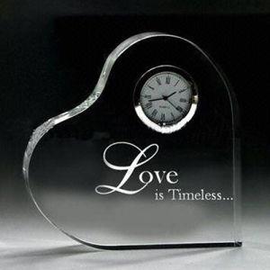Het Hart van het Kristal van de Decoratie van het Huwelijk van de Klok van het Kristal van de Vorm van het Hart van de liefde