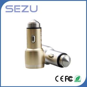 Mini USB doble Martillo de seguridad de Emergencia Cargador de coche para Smartphones