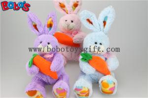 Zanahoria anaranjada rellena juguete Bos1158 de la tenencia animal púrpura del conejo del conejito de la felpa de Pascua