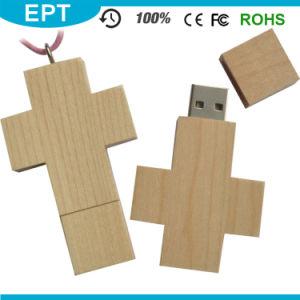 Llavero de madera en forma de cruz unidad Flash USB para una muestra gratis