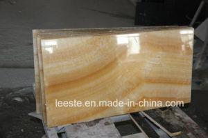 Природные желтого цвета меда Onyx полы мраморные плиты для фона на стене