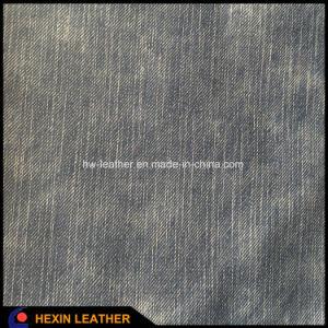 Кожа PU зерна джинсыов синтетическая для ботинок и мешков делая Hx-S1717